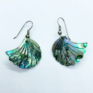 Natural Iridescent Abalone Shell Earrings Mermaid